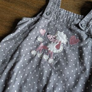 Wonderkids Grey Polka Dot Poodle Overalls Dress